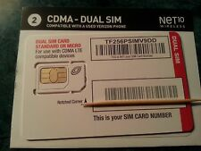 CDMA-DUAL SIM Card for activation with NET 10 Wireless {Standard & Micro sim}