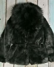 Topshop Ladies Faux Fur Belted Coat Jacket Size 10 Immaculate