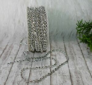 2,70m Schleifenband (0,66 €/m) Perlenband Perlengirlande Weihnachten Kordel silb