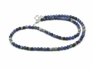 Men's Necklace, Sodalite, Onyx, and Grey Jasper Stone Beads Necklace