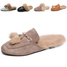 Fashion Real Fur Slipper Shoes Woman Mules Furry Winter Warm Rabbit Hair Flock