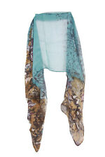 Jade Green Abstract Hippy Inspired Retro Floral Theme Statement Print Scarf (S2)