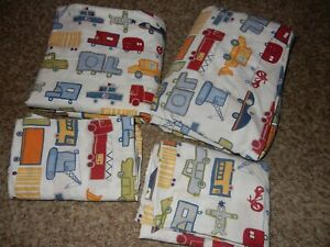 Pottery Barn Kids Transportation Vehicle Full Sheet Set Flat Fitted Pillow cases