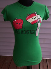 Funny/Novelty Apple/Peeler Graphic/Logo T-Shirt-Slim Fit-Emerald Green-Jrs Small