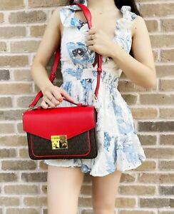 Michael Kors Rose Top Handle Messenger Flap Bag Crossbody Brown MK Dark Sangria