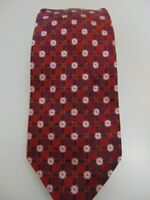 Canali Recent Thick Silk Woven Medallion Floral Burgundy Red Neck Tie Italy