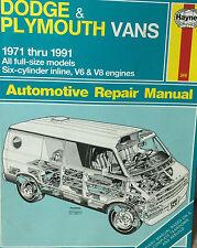 Haynes Repair Manual # 349 Dodge & Plymouth Vans 1971-1991 MODELS