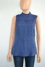 NWOT Marni Blue/Black/Pink Print Mock Neck Sleeveless Blouse Sz. 38