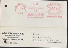 FRANKFURT/M., Postkarte 1936, Adlerwerke vorm. Heinrich Kleyer AG