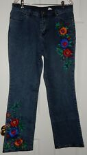 DG2 by Diane Gilman Blue Denim Floral Embroidered Jeans Pants NEW Size 12