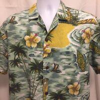Royal Creations Mens Hawaiian Shirt Large Floral Surfboard Made In USA Aloha