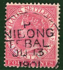 MALAYA Straits QV Stamp 4c Penang *NIBONG TEBAL* Postmark 1901 Used ORANGE389