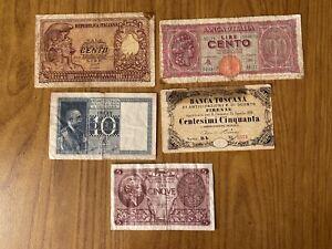LOTTO 5 BANCONOTE 5 LIRE ELMATA 10 LIRE IMPERO 100 TURRITA