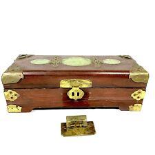 Chinese Wood Jewelry Box Jade Inlay Brass Mounts - Missing Key