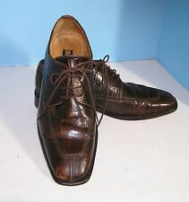 MEN'S STACY ADAMS SQUARE TOE BROWN MOCK REPTILE OXFORD STYLE SHOES SIZE 9 M