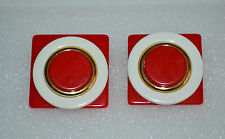 VTG LARGE LUCITE ART DECO LAYERED EARRINGS ON CLIPS - RED WHITE GOLD