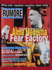 Rivista RUMORE 41/1995 Almamegretta Fear Factory Bjork Area C.S.I. Tricky No cd