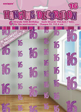**16TH BIRTHDAY CELEBRATIONS**    Pink & Silver Hanging String Decorations!