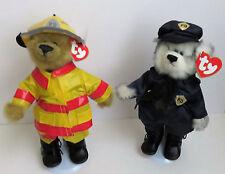 "Two Ty Attic Treasure 8"" Bears Custom Dressed as a Policeman & Fireman Poseable"