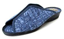 PANTOUFLES CHAUSSONS MULES OUVERTES 41 toile bleu à motifs LA CADENA femme NEUF