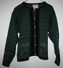 Women's DALE OF NORWAY Nordic Cardigan Sweater Medium wool Green/black M