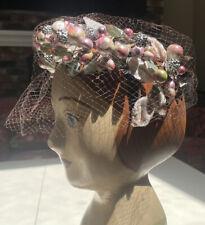 Vintage 1940s 1950s Pink Green Hat Berries, Velvet, Shiny, Bow Stunning!
