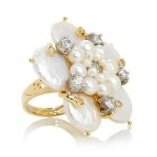 Dea Cultured Freshwater Pearl Floral Gold-Plated Sterling Silver Ring size 6 HSN
