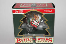 COCA COLA CHRISTMAS ORNAMENT, BOTTLING WORKS COLLECTION, ELF SITTING ON GLASS