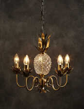XL Antique Brass 5 Light Glass Pineapple Marie Therese LUXURY Chandelier Light