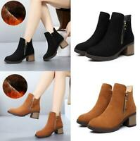 New Womens Fur Lined Ankle Boots Winter Warm Chelsea Boots Booties Casual Shoes