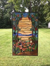 "20.75"" x 34.5"" Handcrafted stained glass window panel Orange Dawn in Valley"