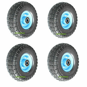 """4pc 10""""Solid Rubber Wheels Puncher Proof Tyre Tire Flat Free Single Hub 20mm"""