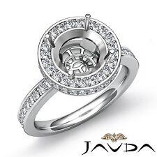Diamond Engagement Semi Mount 0.8Ct Ring Round Shape Halo Pave 14k White Gold
