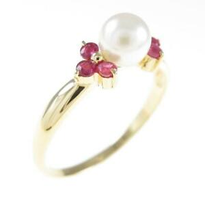 Authentic K18 Yellow Gold Akoya Pearl ring  #260-003-481-5267