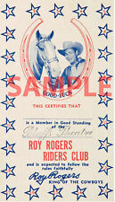 "Western Roy Rogers ""King of the Cowboys"" Riders Club Members Card 4"" X 7"""