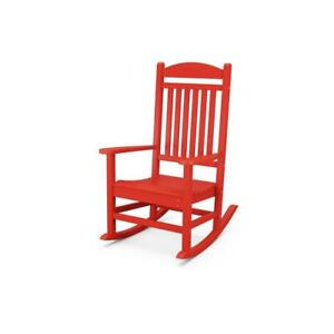 POLYWOOD Rocking Chair Outdoor Red Fade-Resistant Curved Seat Plastic Frame