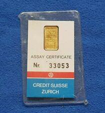 Valcambi Credit Suisse 1 Gram Gold Bar .9999 Fine Sealed In Assay