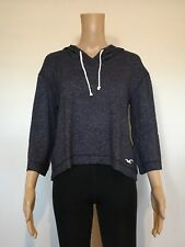 Abercrombie & Fitch Hollister Hoodie Women's 3/4 Sleeve Fine Knit Top S Blue NWT