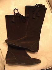 Boden Dark Brown Suede Mid Calf Boots Size 37 UK 4