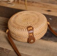 Women Round Rattan Bag Handmade Bali Ata Straw Woven Circle Crossbody Handag