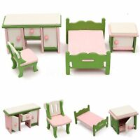 4Pcs Dollhouse Miniature Decor Wooden Bedroom Furniture Set Kids Play Gift Toy