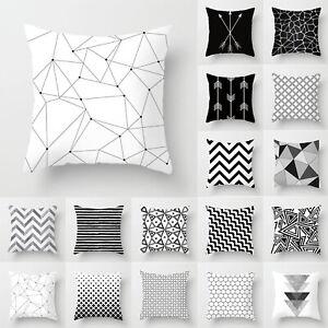 Black/White/Grey Cushion Cover Geometric Waist Throw Pillow Case Home Sofa Decor