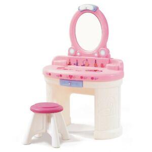 Princess Furniture Kids Vanity Set w/Stool Girly Room Decor Pretend Toy Set