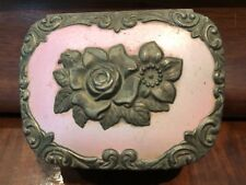 Vintage Rose Japanese Trinket Jewelry Box Gold Metal Footed Lined Ornate Flowers