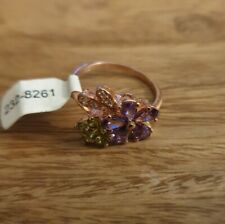 Cubic Zirconia Flower Ring, Rose Gold Plated Silver Ex Argos Stock