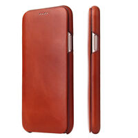 Fierre Shann Genuine Leather Slim Flip Case Cover f iPhone 12 11 Pro X XS Max 78