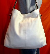 COACH Large Cream Leather Shoulder Hobo Tote Satchel Slouch Purse Bag