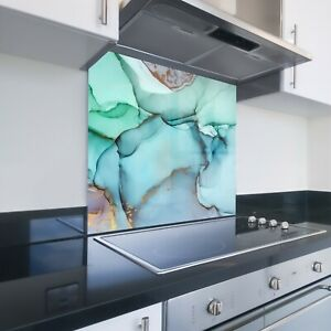 Toughened Printed Kitchen Glass Splashback - Bespoke Sizes - Marble Ocean 112