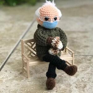 Bernie Sanders Mittens Plush Doll Crochet Handmade Inauguration DIY Home Decor
