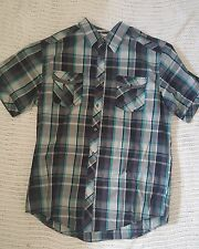 Coastal Button-Down Grey/Gray Turquoise Black Plaid Checked Shirt Cotton Poly XL